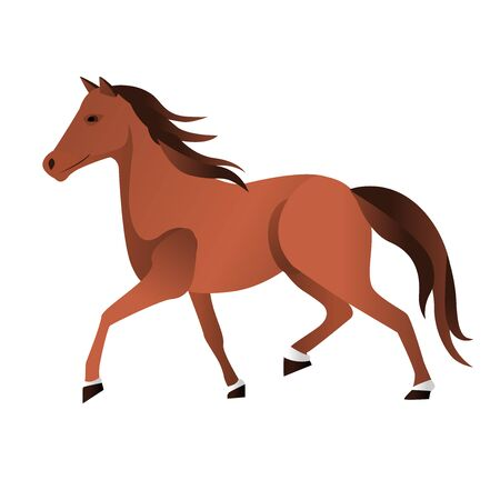 Single basic simple horse illustration in brown natural color. vector