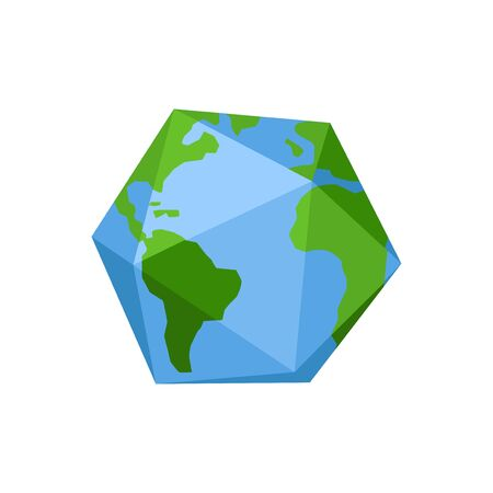 Polygon Quadrangle Earth planet. Low poly game cube. icon naturally ecological symbol-vector illustration