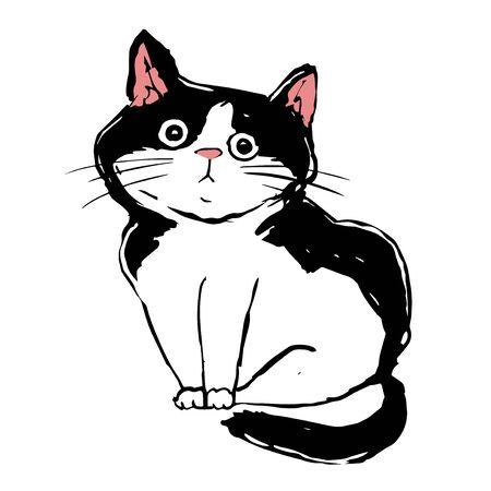 Lovely black and white cat. sad lost kitten. homeless pet. Cute print vector illustration Illusztráció