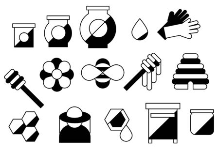 line honey and beekeeping set isolated icons. Simple beekeeping collection theme. bee, honey pot, honeycombs. vector illustration