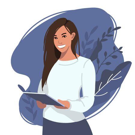 Chica plana con tableta de estilo moderno. Concepto de educación en línea carácter de mujer joven, antecedentes. Banner de tecnología digital para sitios web, aterrizaje, uso interno. Ilustración de vector. Ilustración de vector