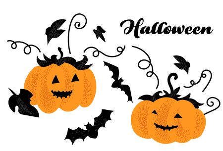 halloween noisy shadow pumpkin. autumn celebration banner. october 31 illustration in modern technic.