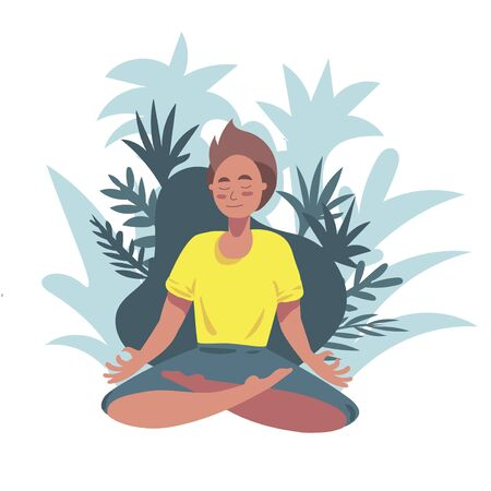 yoga. Boy sits in a lotus position and meditates. yoga fitness, relaxing sport for body and mind health. tropical background. vector illustration