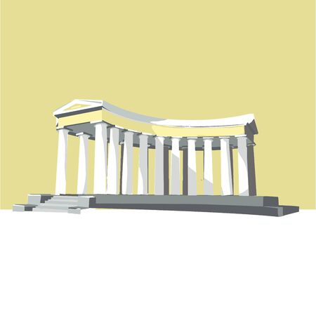 Odessa, Ukraine - colonnade popular world sightseeings, memorial building. isolated vector illustration