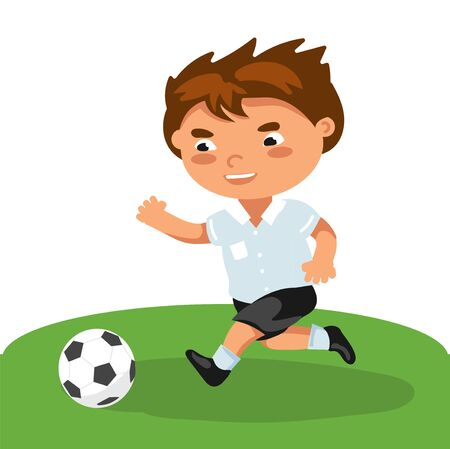 football boy Runs attacking, passes passes, active dynamic, movements. kid play with soccer ball. running school child playing in sport game. Vector illustration in flat style