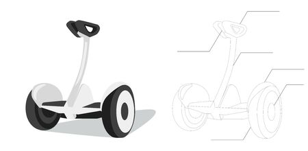 Electro scooter  scheme with details in flat style. two-wheeled board . Self-balancing electric scooter. Eco Transport  isolated vector illustration