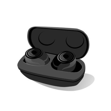 Wireless earbuds in black color. Small Earphones in case. Dark theme. Modern gadget device for listen music in opened box. free hands technology. vector illustration isolated