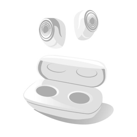 Earbuds in air. Small Earphones in case. Modern Wireless gadget device for listen music in opened box. free hands technology in white color. vector illustration isolated