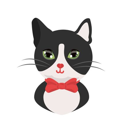 Cat tuxedo black and white cat gentleman with red bow. Kind cat head avatar , print. vector illustration isolated.