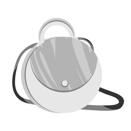Handtaschenmodell in weißer und grauer Basisfarbe. Moderne Mode einfaches Design Schulranzen Vektor-Illustration auf weißem Hintergrund. Vektorgrafik