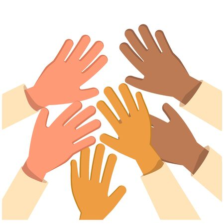 Raised up hands Concept. Charity, education, business train ,different race background silhouette. isolated vector illustration