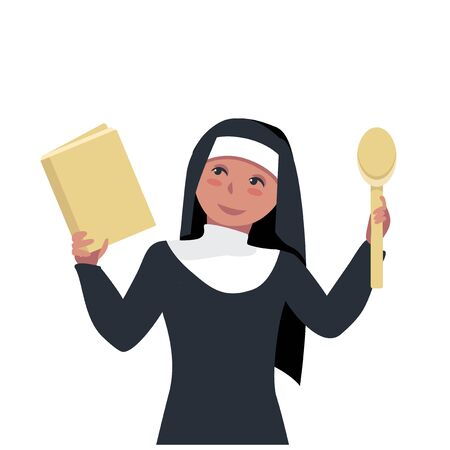nun holds a book of recipes for lean dishes. close-up Sister of Mercy. religious fasting in food. vector illustration