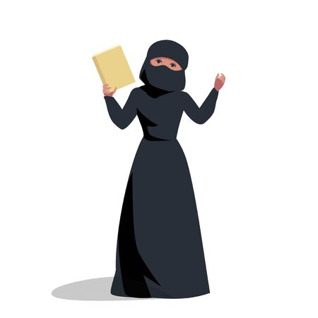 Muslim woman holds a book, shows a hand. religion of islam. hijab woman in national dress, burqa. vector illustration