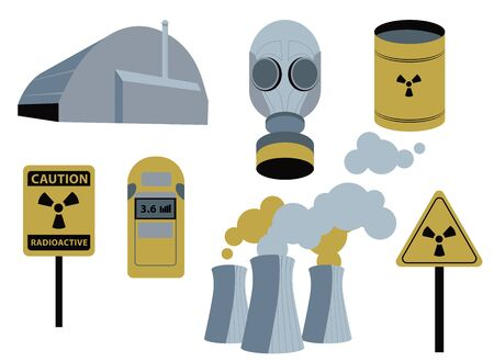 Chernobyl radiation set. 26 april. nuclear power plant pripyat. warming danger toxic symbol. vector illustration
