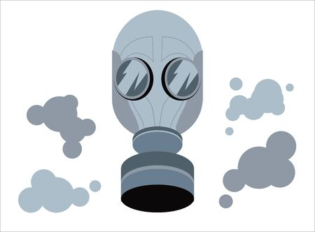 Gas mask Isolated. Army equipment Mask with side filter in grey color isolated vector illustration.