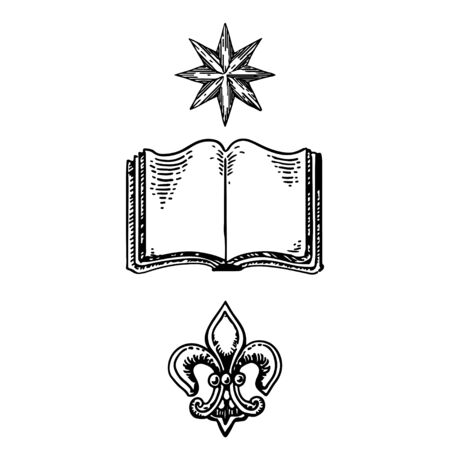 heraldic symbols - book, flower, star. knowledge and family history in gerb motive. vector illustration. Ilustrace
