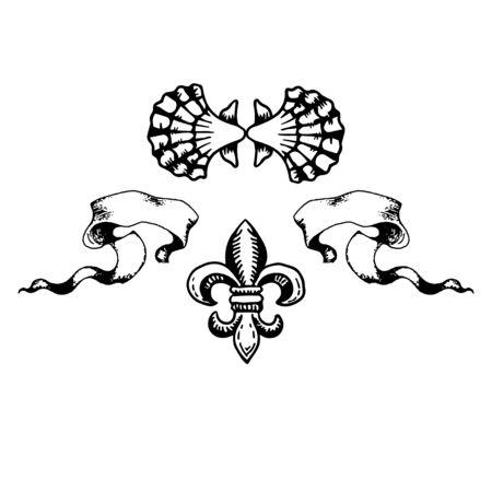 heraldic elements-shell, flower and tape. gerb design ribbon, classic antique symbols gerb motifs.vector illustration. Ilustrace
