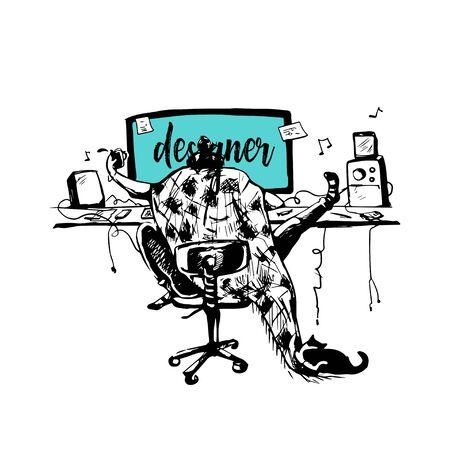 designer freelancer outsourcing work. distant digital job. copy space on computer screen. modern artist , developer lifestyle. hand drawn illustration vector.