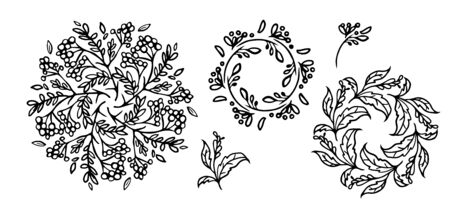 Abstract Mandalas ornament set. floral Vintage decorative elements in hand drawn ethic style.Russia, Ukraine, Islam, Arabic, Indian motifs. isolated background vector illustration. Vector Illustration