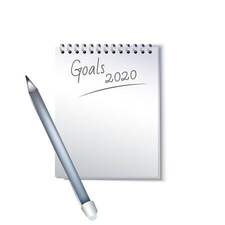 notebook mock-up. 2020 goals copy space. realistic 3d planning list isolated on white. clear empty paper. vector illustration