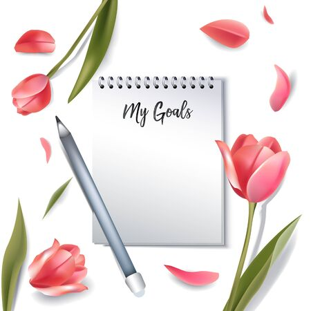 notebook with goals. realistic 3d mockup with copy space for text. elegant flowers on background. realistic fashion banner in romantic woman style. vector illustration