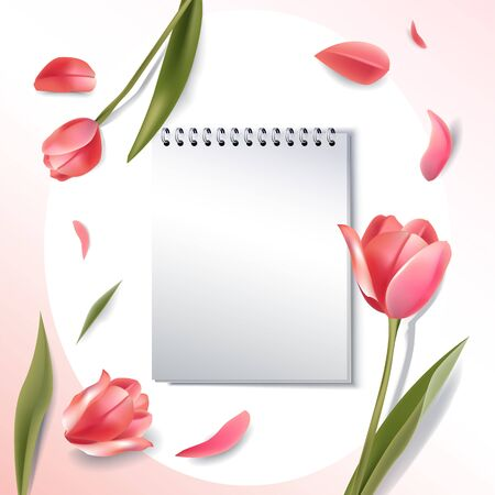 notebook 3d mockup with flowers on background and copy space. realistic fashion banner in romantic woman style. vector illustration Ilustrace