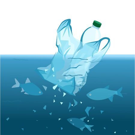 plastic pollution. microplastic disaster. planet with plastic, non-degradable debris. cellophane bag in the ocean. World Environment Day, planet day, rejection of plastic. vector illustration.