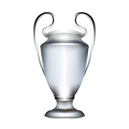 Fußballpokal. Silberne realistische Preistrophäe 3d. Isolierter Sportspielpreis. Tennis, Basketball, Hockey, Golf, Fußballpreis.