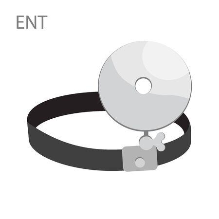 Otolaryngology ENT instrument - medical morror. Doctor eye, treating ear, throat, nose. isolated on white background. Medical concept. Vector illustration