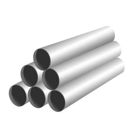 pipe pyramid using in repair and construction. white light color pile in roll. isolated vector illustration