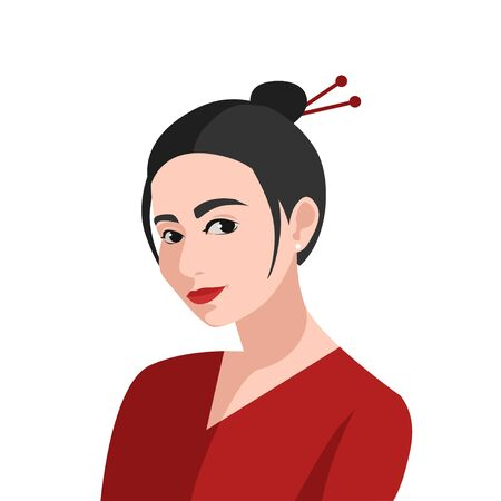 asian woman portrait in classic traditional style. Ethnic chinese girl. Japan lady. vector isolated illustration Иллюстрация