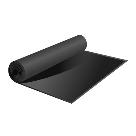 black simple carpet in roll, mat for dirt. Camping rug or fitness carpet . Yoga floor mat. isolated vector illustration