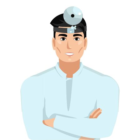 Young male doctor. Portrait of a physician otolaryngologist (ENT) with a medical mirror in a white medical hutal. Vector illustration Ilustracja