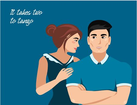man and woman in romantic relationship. couple - two people love each other. isolated background. vector illustration Vettoriali