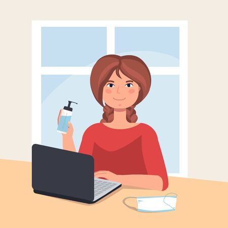 Stay home in quarantine. the girl holds an antiseptic and a mask in her hands, works remotely online on the computer. self isolation, virus protection. vector illustration.