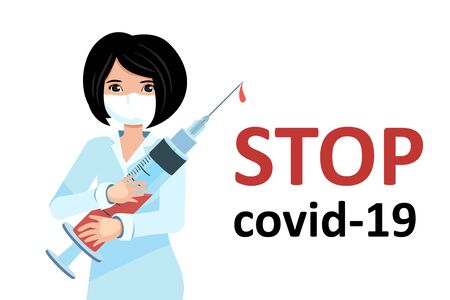 stop covid-19 Vaccination. syringe with a medicine for the pandemic of the coronavirus. Doctor makes an injection.Isolated vector illustration.