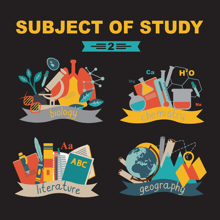 intermediate: School subjects and subjects at university. Back to school. Illustration