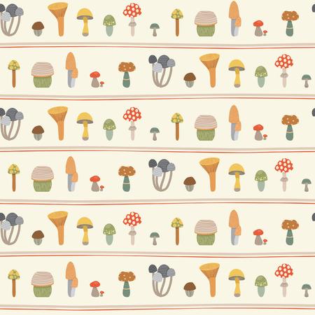 grebe: Pattern of mushrooms Illustration