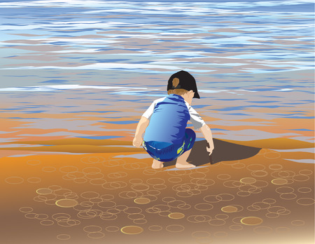 Boy playing in the sandy beach on a summer lake. Ilustrace