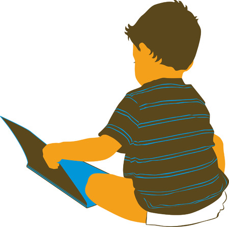 Toddler boy reading a book. Ilustracja