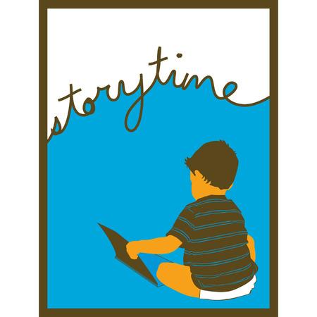 本を読んで言葉で「のストーリー ・ タイム」上記の筆記体で小さな男の子のフレームの画像。