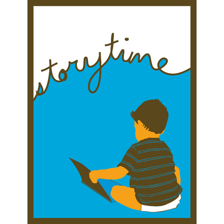 story time: Framed image of a little boy reading a book with the words story time above in cursive. Illustration