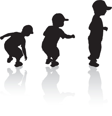 Little boy jumping sequence in black