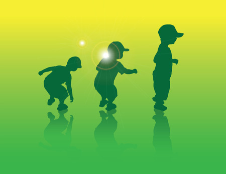 Little boy jumping sequence in green Ilustracja