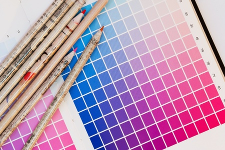open Pantone sample colors catalogue Stock Photo - 12329779