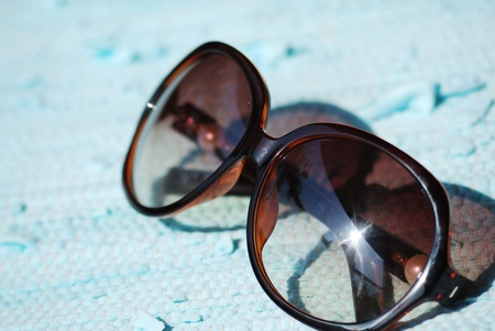 Fancy aviator sunglasses close up  photo