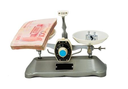 counterpoise: Tray balance on white background  Stock Photo
