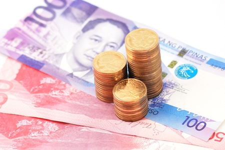 pesos: Philippine Currency 2010 issue of various denominations Stock Photo