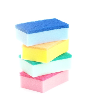 Group of kitchen sponges isolated on the white background Stock Photo - 13068750