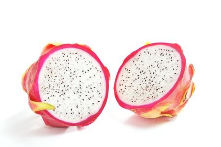 Half Dragon Fruit on white background photo
